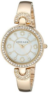 Anne Klein Women's AK/1960GBST Swarovski Crystal-Accented Gold-Tone Bangle Watch and Bracelet Set (South Africa)