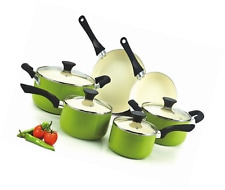 Cook N Home NC-00358 Nonstick Ceramic Coating 10-Piece Cookware Set, Green (South Africa)